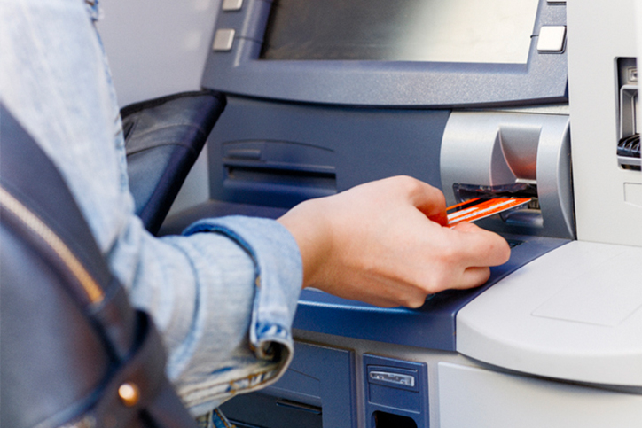 Placing card into ATM