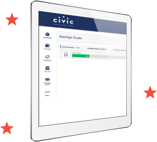 tablet with Civic banking page open